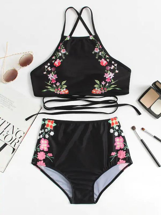 High waisted Bikini - Calico Print
