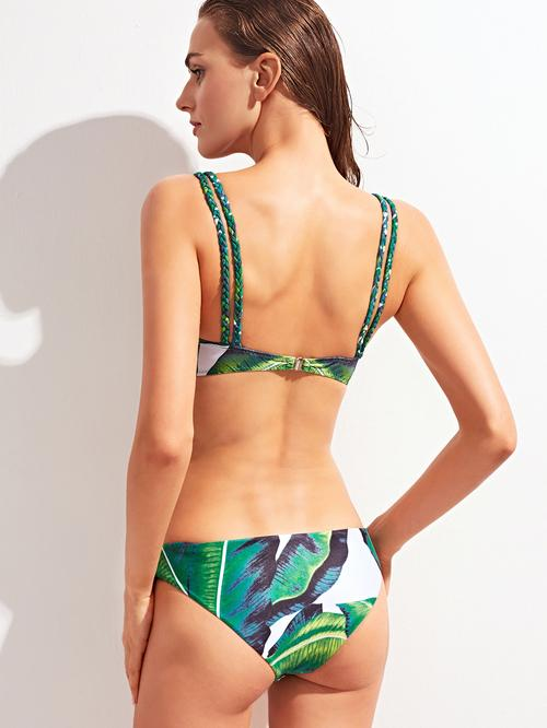 Womens swimsuits - Tropic Print Braided Strap