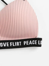 Load image into Gallery viewer, Slogan Tape Cross Back Striped Bra