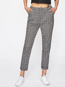Ladies Pant - Checked Drawstring