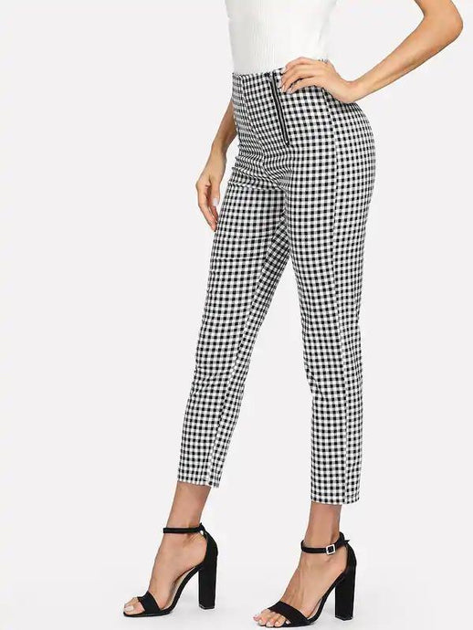 Ladies Pant - Zip Front Gingham