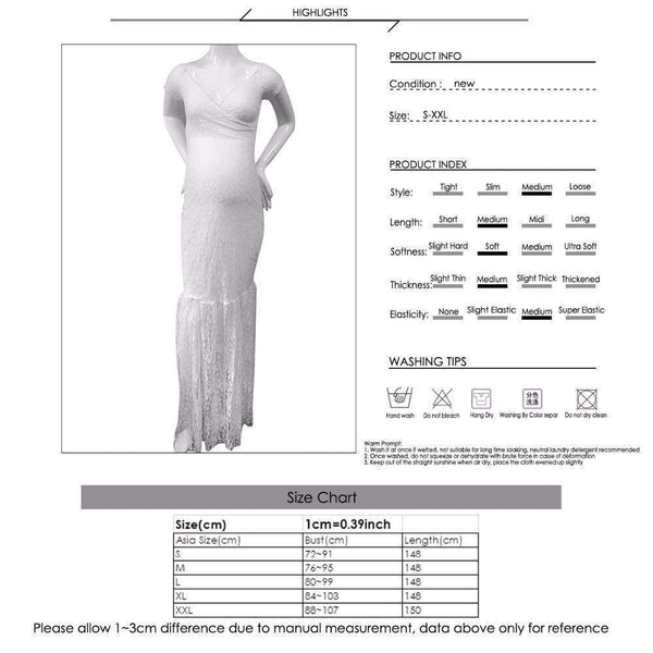 Mermaid Pregnancy Gown Size Chart