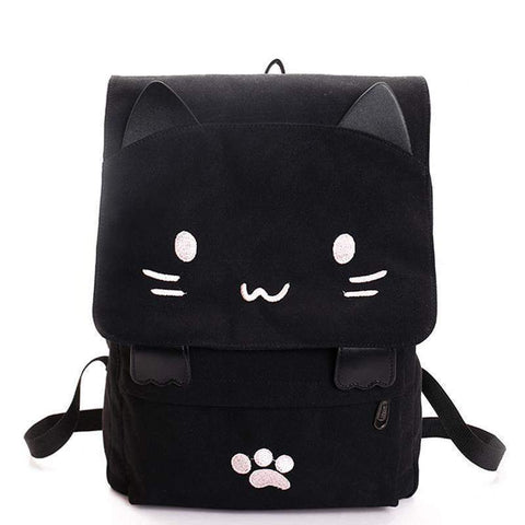 Cute Cat Canvas Backpack-backpack-Amy&Rose-Pink-Amy&Rose