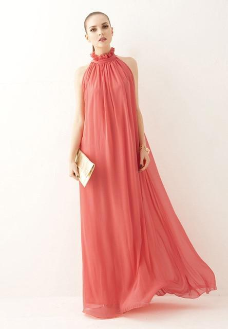 Faith Long Chiffon Bohemian Maternity Dress-dress-Amy&Rose-Watermelon color-Amy&Rose