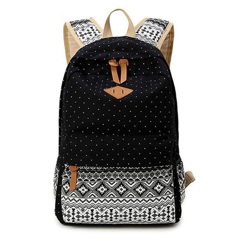 Frances Canvas Backpack-backpack-Amy&Rose-Black-Amy&Rose