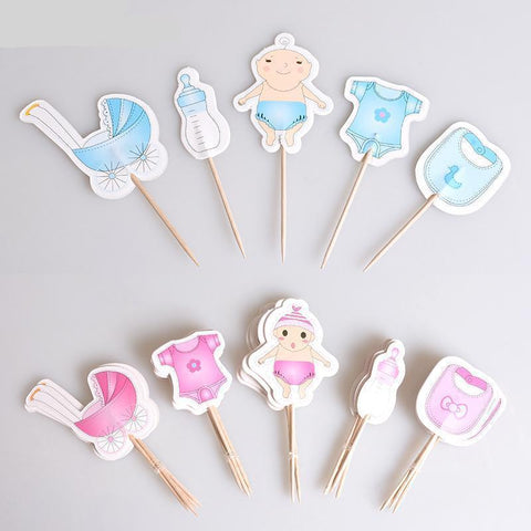 Gender Reveal Cake Cupcake Topper Fruit Toothpick-gender reveak-Amy&Rose-Boy-Amy&Rose