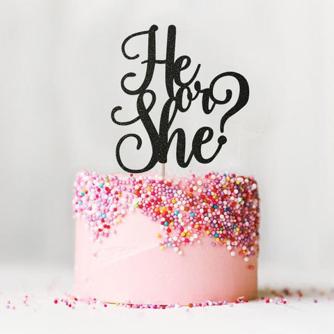 Glitter Cake Topper | 7 colors-gender reveal-Amy&Rose-Black Glitter-Amy&Rose
