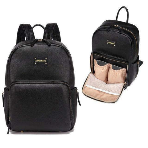 Janet Leather Diaper Backpack Baby Bag Organizer-backpack-Amy&Rose-Black-Amy&Rose