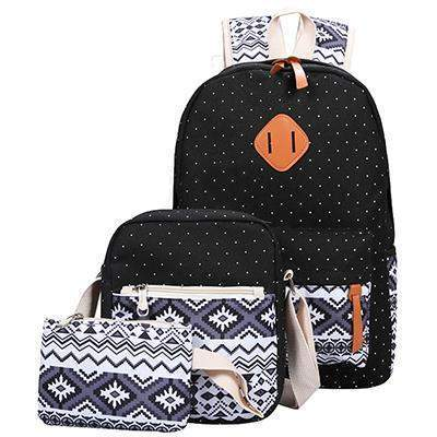 Joe Canvas Backpack Set-backpack-Amy&Rose-black-Amy&Rose
