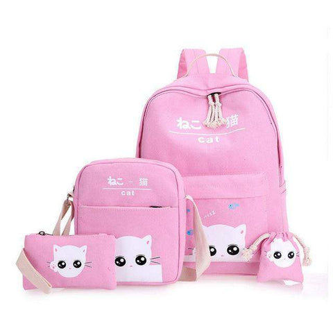 Judith Cat Backpack Set-backpack-Amy&Rose-pink-laptop school bags-Amy&Rose