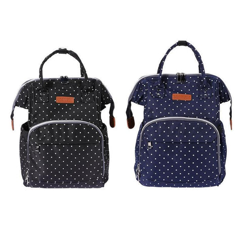 Polka Dot Waterproof Diaper Bag-backpack-Amy&Rose-Black-Amy&Rose