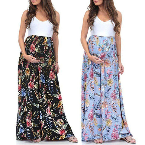 Floral Sleeveless Maternity Maxi Splicing Dress-AmyandRose-AmyandRose