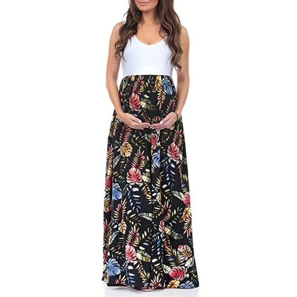 Floral Sleeveless Maternity Maxi Splicing Dress - Black