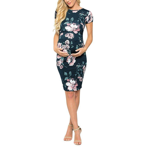 Floral Pregnant Short Sleeve O-neck Casual Dress-Maternity Dress-AmyandRose-AmyandRose