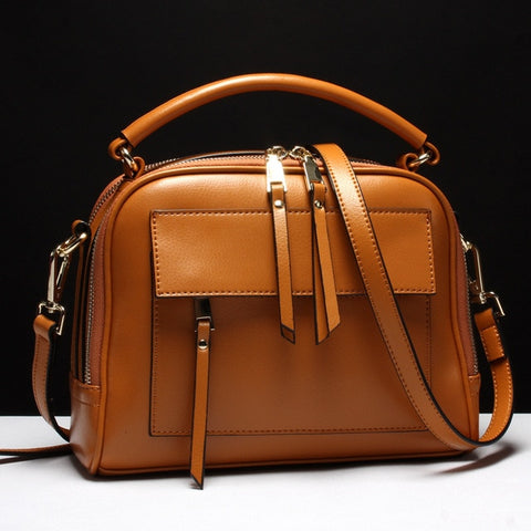 Mary Box Style Italian Cowhide Handbag-AmyandRose-Brown-Mini(Max Length<20cm)-AmyandRose