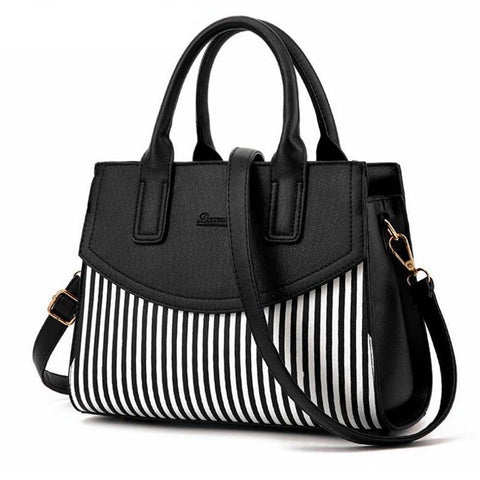 Charlie Black And White Striped Tote HandBag-AmyandRose-AmyandRose