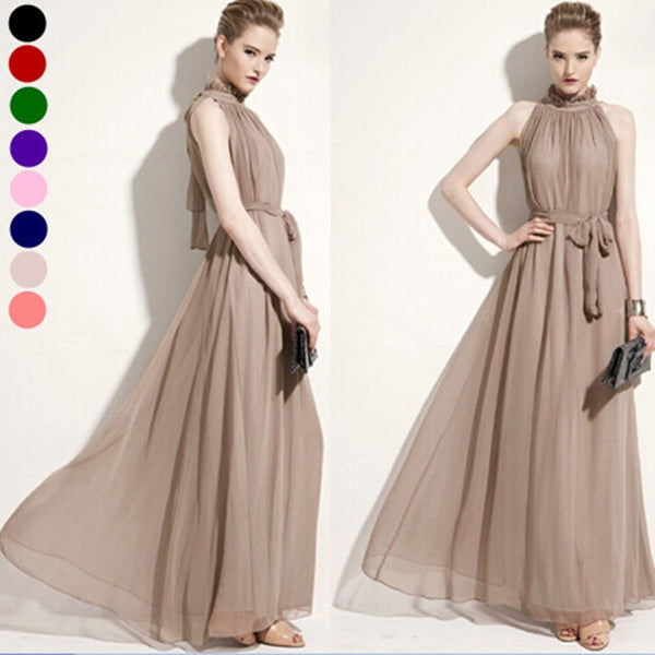 Long Chiffon Maternity Maxi Dress