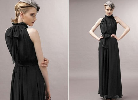 Long Chiffon Maternity Maxi Dress-maternity-AmyandRose-Black-One Size-AmyandRose