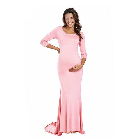 Maternity Photoshoot Dress: Long-maternity-AmyandRose-Pink-L-AmyandRose