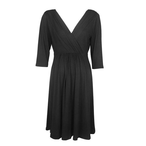 Maternity Evening Cocktail Plus Size Dress-maternity-AmyandRose-Black-S-AmyandRose