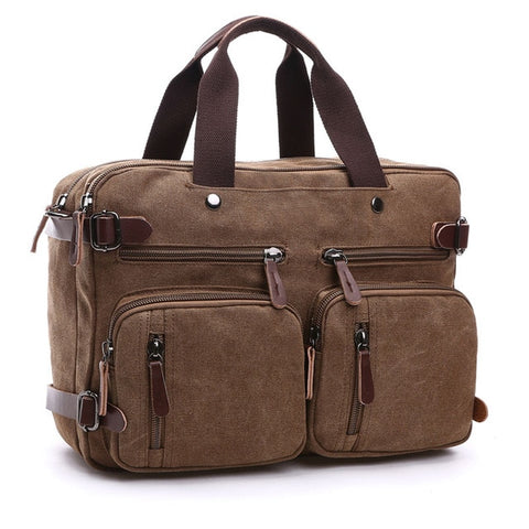 Coffee Adam Canvas Messenger Bag and Backpack Convertible AmyandRose