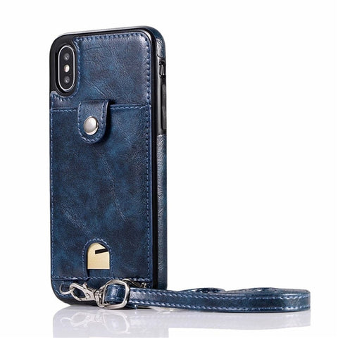 Dark Blue Case ip XR (6.1inch) Iconic iPhone purse case with shoulder strap AmyandRose
