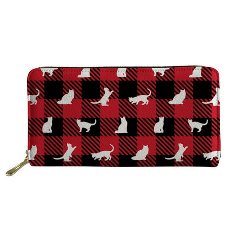 Cat Halftone Printed Red Black Plaid Purse-AmyandRose-Wallet-49x29x39x12 cm-AmyandRose