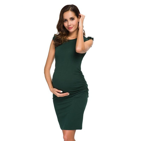 Ruched pregnancy midi dress