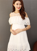 White Lace Off Shoulder Maternity Dress-maternity-AmyandRose-AmyandRose