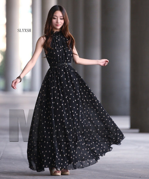Long Polka Dot Chiffon Maternity Dress