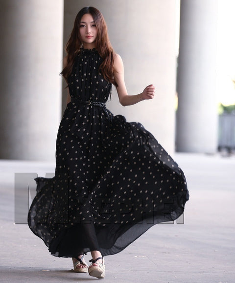 Long Polka Dot Chiffon Maternity Dress-maternity-AmyandRose-AmyandRose
