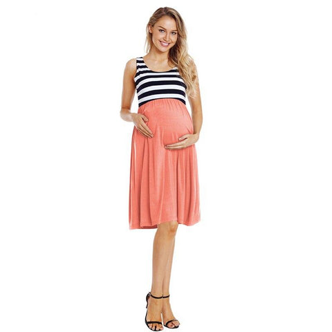 Sleeveless Side Ruched Stripe Pregnancy Dress-maternity-AmyandRose-AmyandRose
