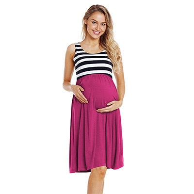 Sleeveless Side Ruched Stripe Pregnancy Dress-maternity-AmyandRose-Pink-L-AmyandRose