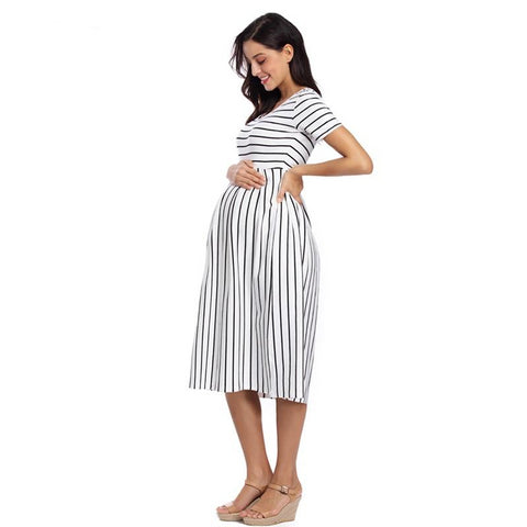 Striped Short Sleeve Maternity Dress-maternity-AmyandRose-AmyandRose
