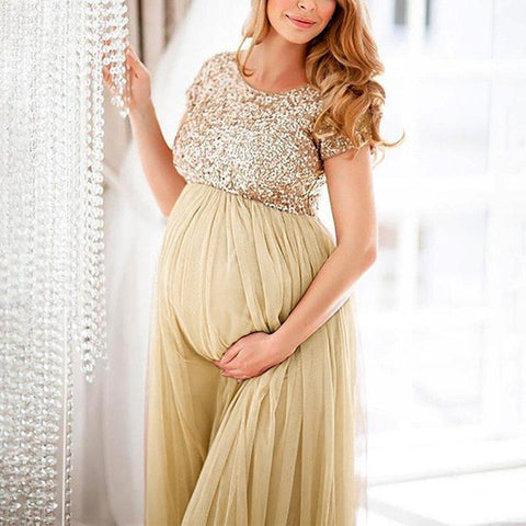 Gold Sequin Maternity Dress-maternity-AmyandRose-AmyandRose