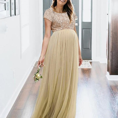 Gold Sequin Maternity Dress-maternity-AmyandRose-Gold-S-AmyandRose
