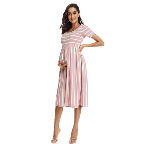 Striped Maternity Dress | Summer-maternity-AmyandRose-Peach-L-AmyandRose