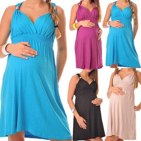 Halter Maternity Dress | Solid Colors-AmyandRose-AmyandRose
