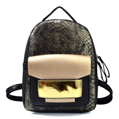 Serpentine Textured Backpack-backpack-Amy&Rose-Black-Amy&Rose