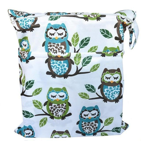Wet Dry Diaper Bag With Two Zipper-Amy&Rose-owl and tree-Amy&Rose