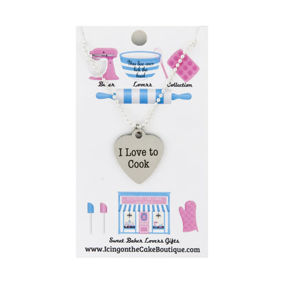 I love to Cook Quote BAKER LOVERS NECKLACES