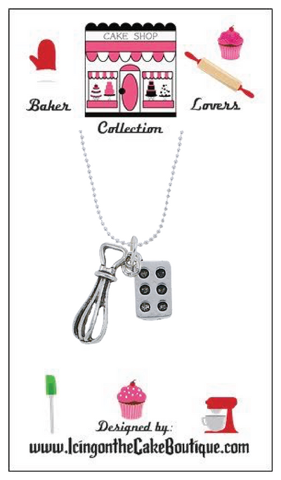 BAKER LOVERS NECKLACES-Whisk and Cupcake/Muffin Pan