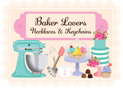 BAKER LOVERS NECKLACES-Measuring Spoons and Cupcake/Muffin Pan
