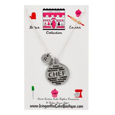 Monogram Chef Word Collage BAKER LOVERS NECKLACES