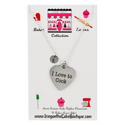 Monogram I love to Cook BAKER LOVERS NECKLACES