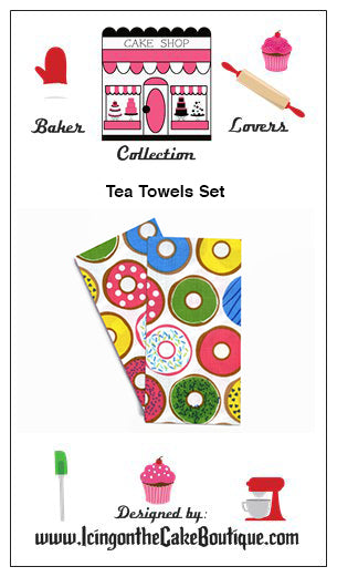 Baker Lovers Dream Tea Towels Set of 2-Doughnuts