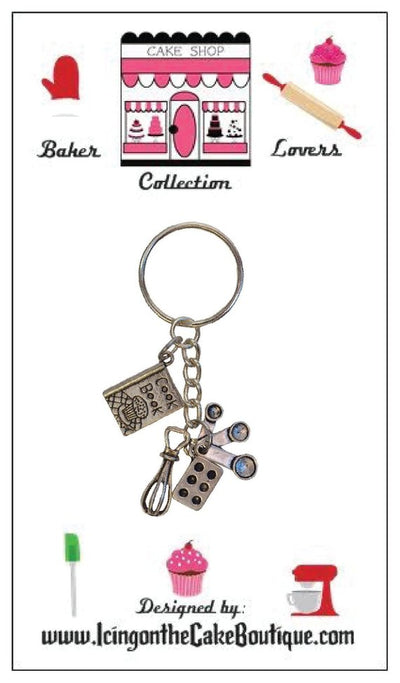 Baker Lovers Dream Key Chain-Muffin Pan, Whisk and Measuring Spoons