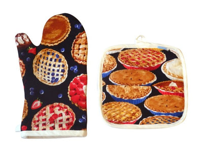 Hot Baked Pies Hot Mess Oven Mitt & Baker Shop Potholder Gift Set