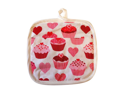 Sweet Hearts Cupcakes Hot Mess Oven Mitt & Baker Shop Potholder Gift Set
