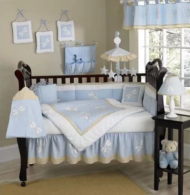 Blue Dragonfly Dreams 6 Piece Crib Bedding Set - babymoonnursery